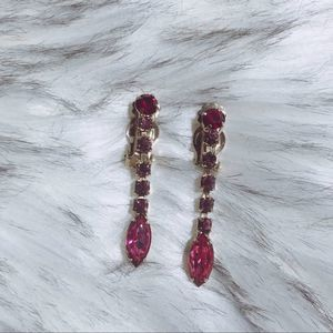 Vintage Red & Pink Pretty Clip On Earrings